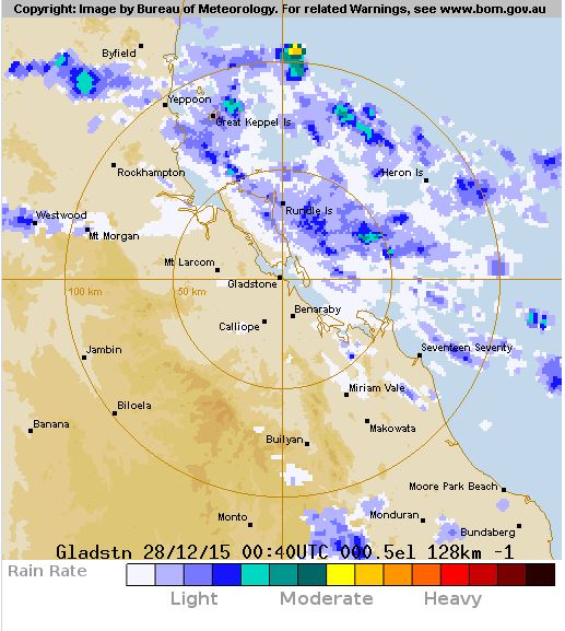The Bureau of Meteorology's rain radar shows the last of the light rain moving offshore as of 10.40am.
