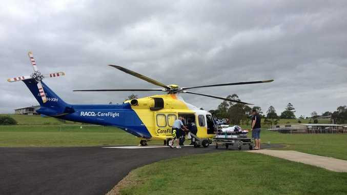 AIRLIFTED OUT: A boy was airlfted from Kingaroy Hospital after a motorbike accident.Photo Contributed