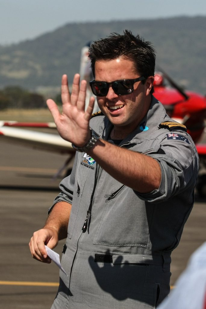 Ryan Campbell, 19, on landing at Albion Park Regional Airport after flying solo around the world. Campbell has broken the world record to become the youngest pilot to fly a single-engine aircraft solo around the world. (AAP Image/Dylan Robinson/DCZ)