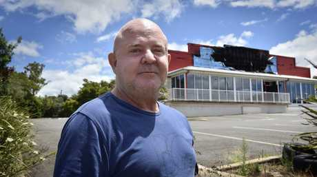 Snap Fitness owner Griff Davies in Toowoomba to inspect the damage caused by a suspicious overnight fire.