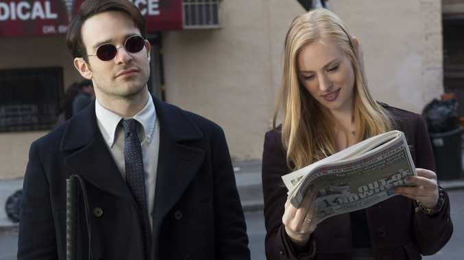 Charlie Cox and Deborah Ann Woll in a scene from the Netflix TV series Marvel's Daredevil. Supplied by Netflix Australia. Please credit photo to Barry Wetcher.