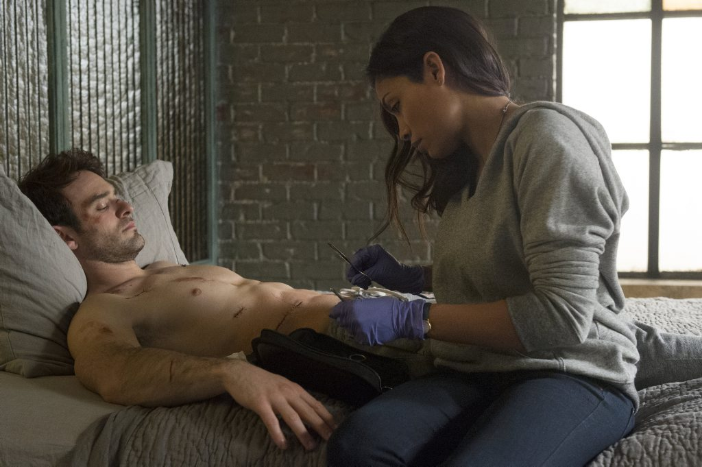 Charlie Cox and Rosario Dawson in a scene from the Netflix TV series Marvel's Daredevil. Supplied by Netflix Australia. Please credit photo to Barry Wetcher.