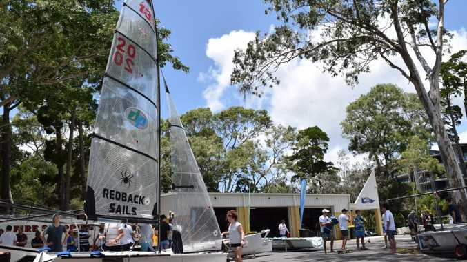 Sailors prepare to race at the 94th Australian 16ft Skiff Championships at Hervey Bay. Maryborough Sailing Club hosted the event. Photo Matthew McInerney / Fraser Coast Chronicle