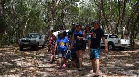 Leaving their Freshwater campsite at Teewah Beach for a trip to the lagoon are (from left) Jill Cullen, Lindy Pokorny, Ray Pokorny, Ethan Pokorny, 8, Neil Pokorny, Kylie Pokorny, Cameron Pokorny, 3, and Ben Pokorny.