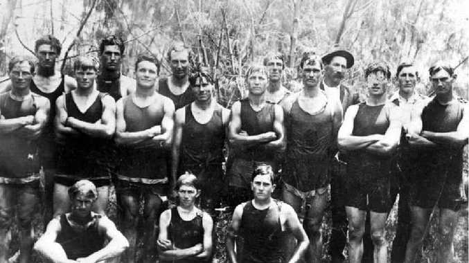 IN THE SWIM: The Maroochydore life saving group recruited by Tom Prentis in 1922.