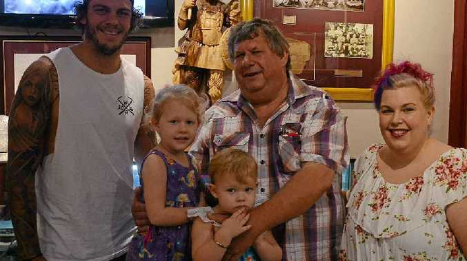 RUBBING SHOULDERS: North Queensland Cowboys player Ethan Lowe with Perry and Cassie Cronan, and little fans Molly and Mahalia Cronan (middle).