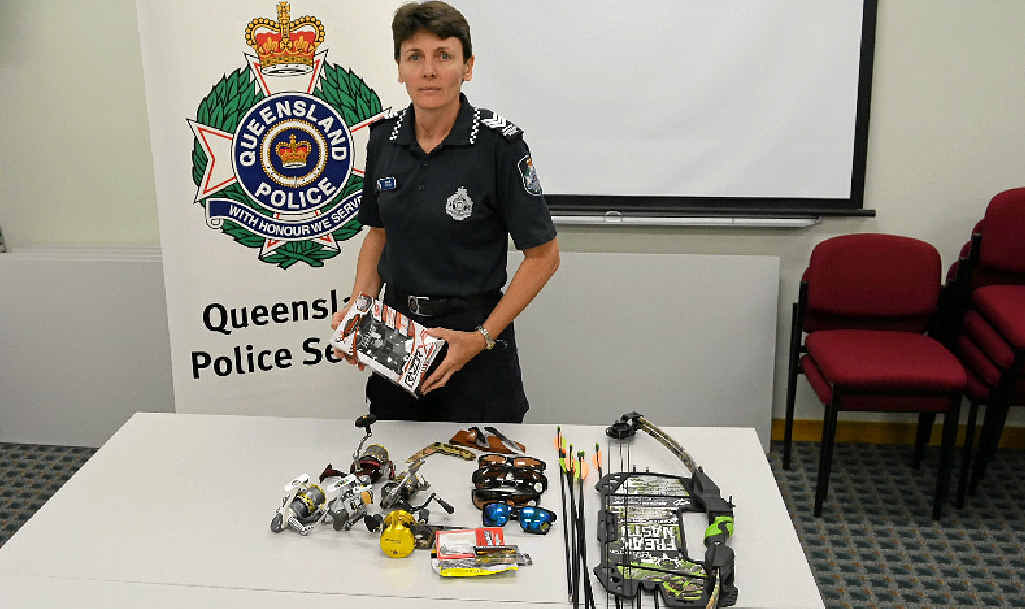 STOLEN GOODS: Sergeant Lisa Self with the items recovered from a recent break-in at Warwick Tackle and Tusk on Wood St.