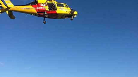 The Westpac Rescue Helicopter at Turners  Beach, Yamba