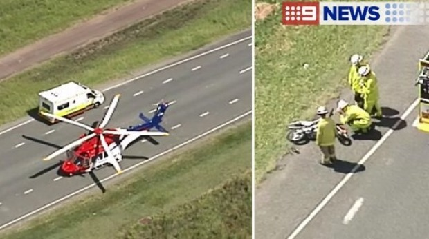 The car collided with the bike just after 1pm on Tuesday. Photo: Nine News
