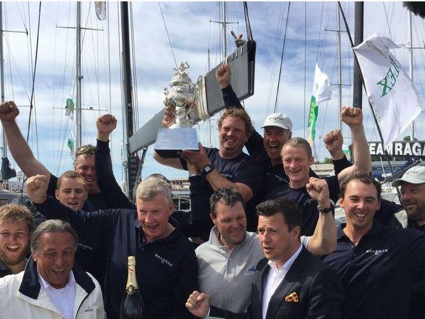 The Balance crew celebrates winning line honours.