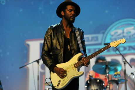 Gary Clark Jr performs at the Mojo Tent at the 25th Annual Byron Bay Bluesfest in Tyagarah. 2014. Photo Marc Stapelberg / The Northern Star