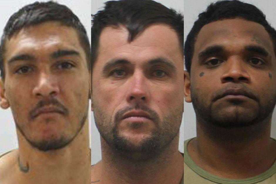 Jacob Allen, Craig Jackson and Claude Cobbo (LtoR) who escaped a Townsville prison farm.