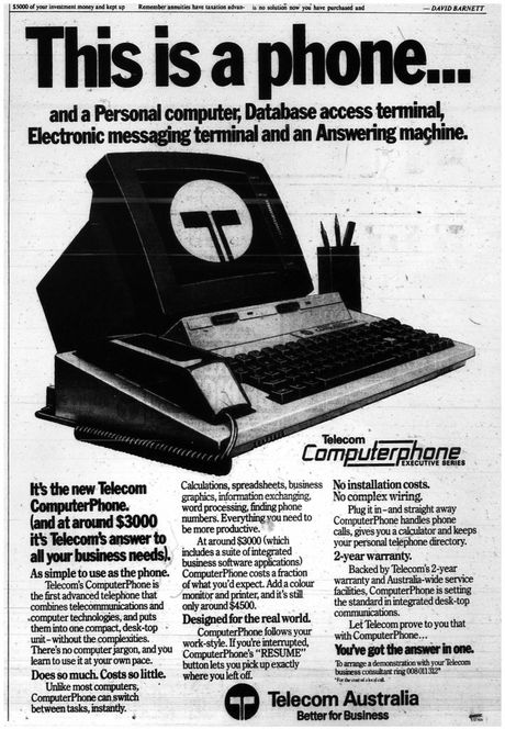 An advertisement for a $3000 Telecom computer phone in a 1985 Courier Mail newspaper. Contributed / QLD301215cabinet3