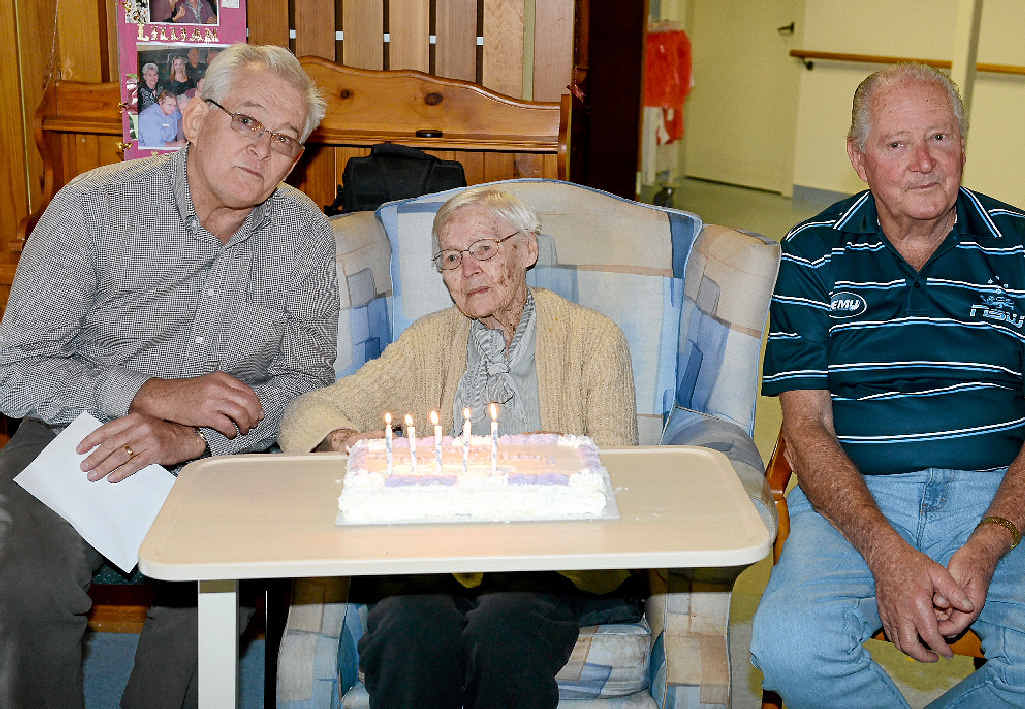 CITY TREASURE: Lillian Reimers celebrates her 105th birthday with sons Geoff and Bryan.