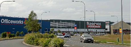 BIG MOVERS: The new Officeworks building and Bunnings hardware in Dalton Dr, Maroochydore, led the charge in business property developments in 2015.