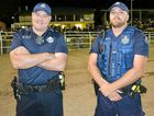 ON DUTY: Senior Constable Jim Doyle and Constable Brad Grassens keep an eye on the crowd at the New Year's Eve Rodeo.