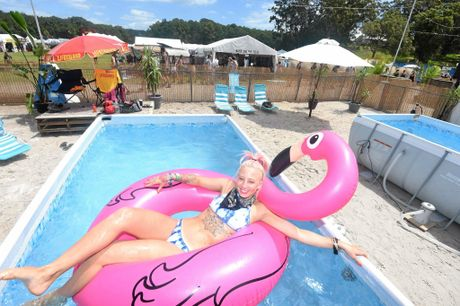 Kayla Wilson relaxes in one of the pools provided at Falls Festival. Photo Marc Stapelberg / The Northern Star