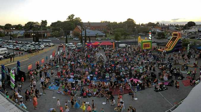 The crowd eagerly awaits the start of the 20th Anniversary screening of Toy Story at the Grafton Shoppingworld NYE celebrations.