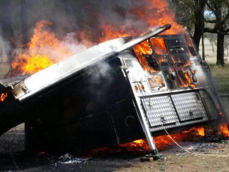 Fire tears through a caravan at Murray's Bridge this morning.