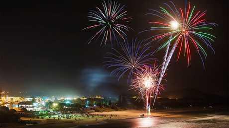 Fireworks at Coolum Beach.