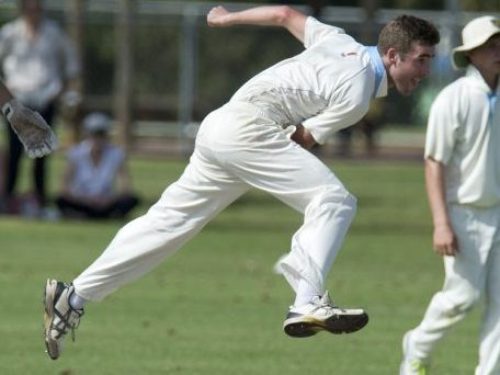 IN FLIGHT: Wests bowler Shaun McCarthy. Photo Kevin Farmer / The Chronicle