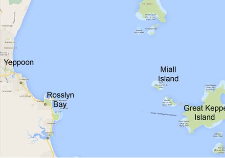 CLOSE ENCOUNTER: A map of Keppel Bay shows Miall Island, where Yeppoon Coast Guard was training at the time of the attack on Saturday.