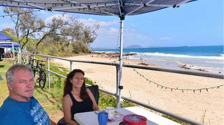 TOURIST DOLLARS: Mooloolaba businesses will lose the trade of campers such as Jaimie and Wendy Weidinger.