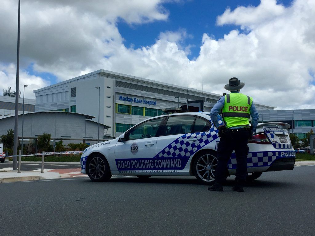 A Mackay police officer stationed at Mackay Base Hospital after a security scare.