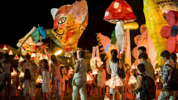 BIG FINISH: Woodford Folk Festival revellers celebrate in style.