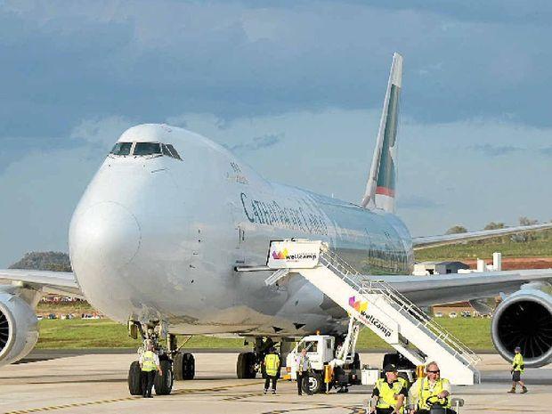 BIG STEP: A Cathay Pacific 747-8 jumbo at Wellcamp airport.