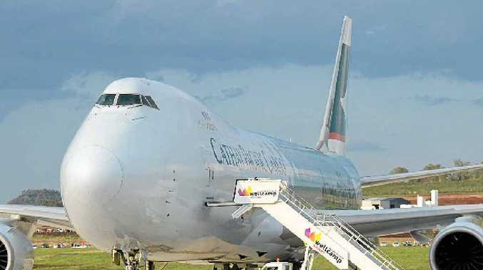 BIG STEP: A Cathay Pacific 747-8 jumbo at Wellcamp airport.