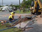 VIDEO: Woman crashes into sinkhole from ruptured water pipe
