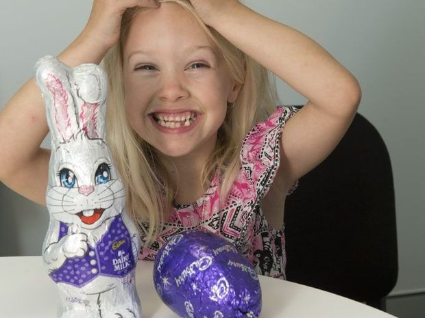 Allira Tooth is happy with early Easter eggs but her mum Larissa Auld isn't as pleased.