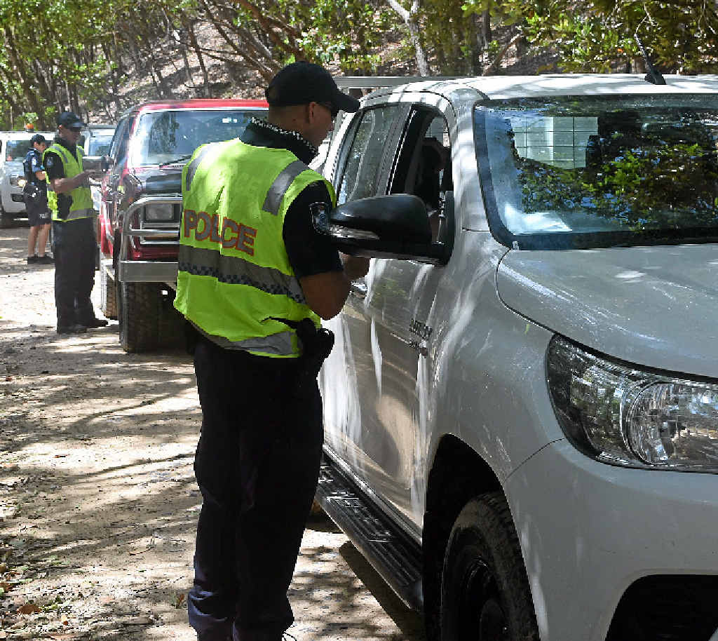 BLOWING IT: Police conduct random breath tests on Leisha Track in the Cooloola Recreation Reserve.