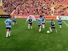 ON SHOW: Grafton juniors display their skills during half-time of the A-League match between Brisbane Roar and Perth Glory at Suncorp Stadium on Saturday night.