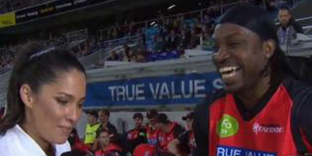 Chris Gayle's post-match comments leaves Channel 10 reporter clearly uncomfortable. Photo / Screengrab