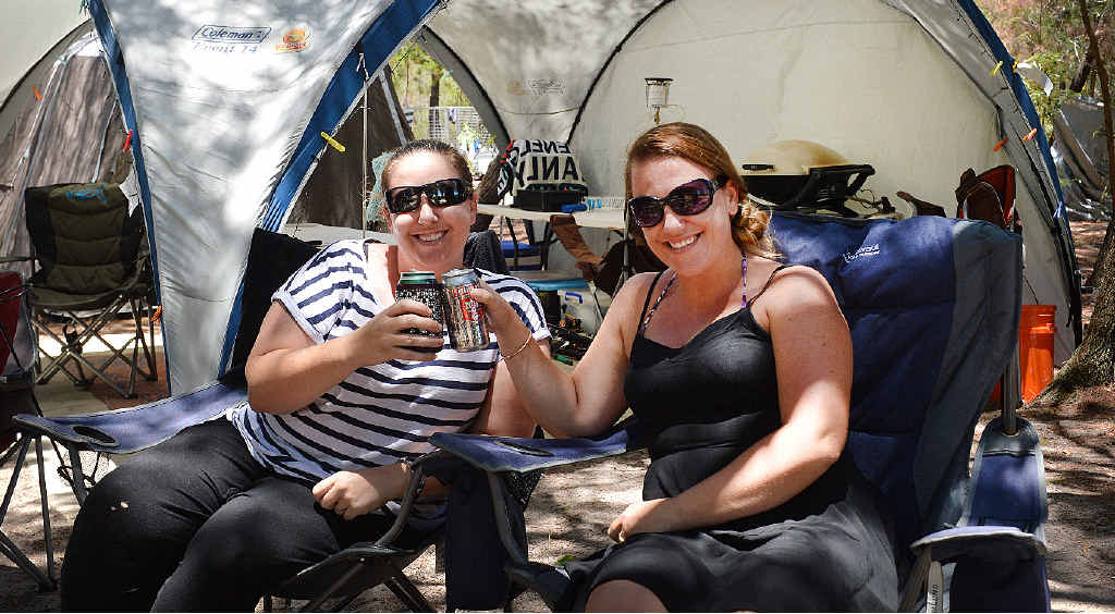 GOOD TIMES: Abbey and Tanya Rasmussen camping at Inskip point.