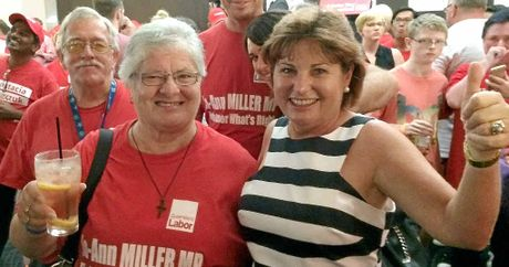 LOCAL HERO: Jo-Ann Miller with supporters at the Labor function at Richlands after winning the seat of Bundamba.