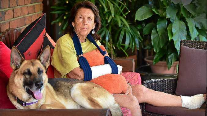 STILL RATTLED: Liila Phillips, of Marcoola, is recovering after a dog attack at North Shore left her with a broken arm.