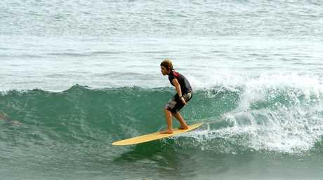 Keahi De Aboitiz surfs an alaia at First Point Noosa in 2013.