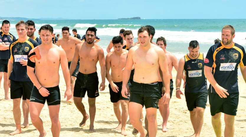 ON THE WAY: Sunshine Coast Falcons, pictured during a preseason beach session, will bring their April 23 match against Ipswich Jets to Hervey Bay.