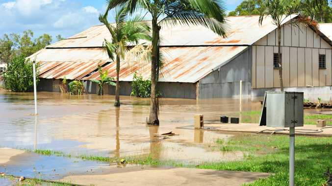Bundaberg Slipways goes underwater again as the flooding waters return. Photo: Max Fleet/NewsMail