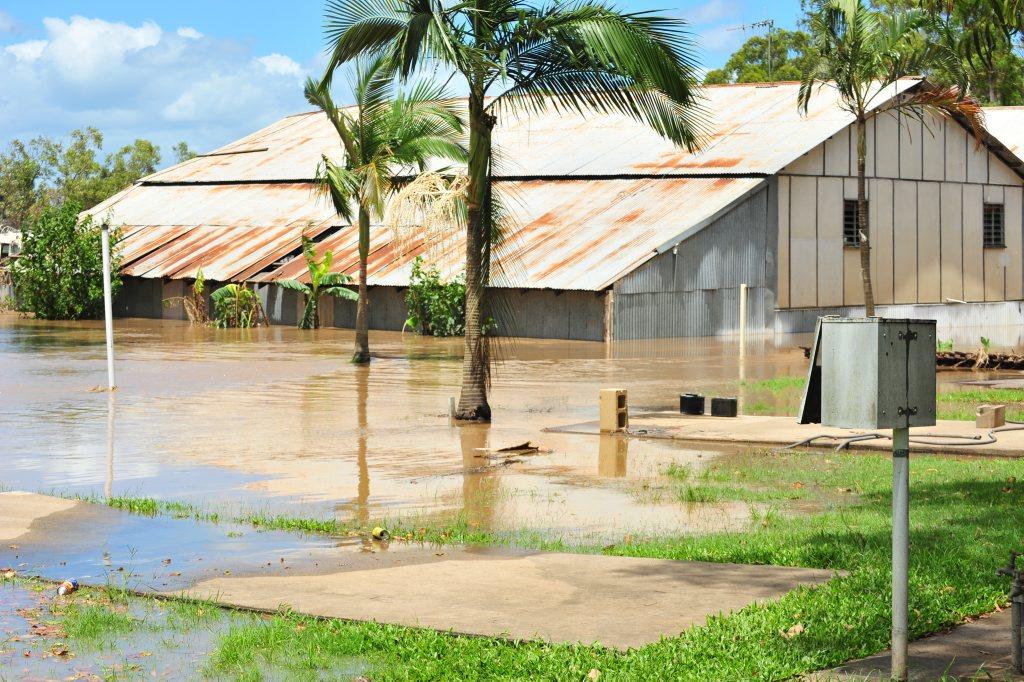 Bundaberg Slipways goes underwater again as the flooding waters return. Photo: Max Fleet/NewsMail