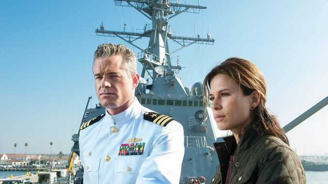 Eric Dane and Rhona Mitra in a scene from the TV series The Last Ship.