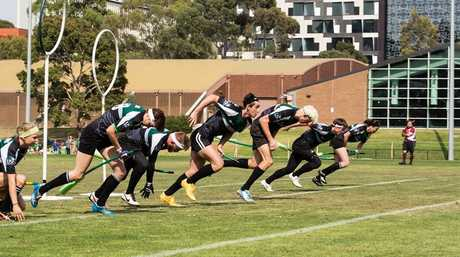TAKE YOUR MARK: The Quidditch team in full flight. Photo Contributed