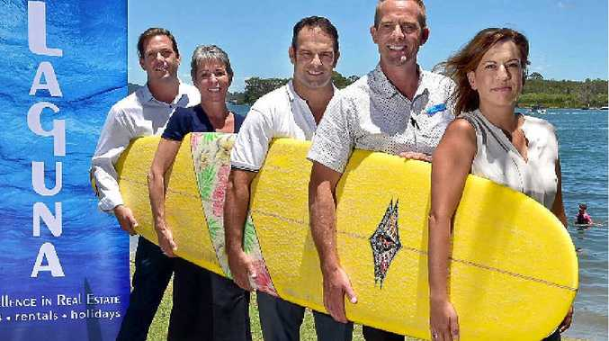 ON BOARD: Laguna Real Estate celebrate securing naming rights for the Noosa Festival of Surfing, (from left) Trevor Zander, Penny Choyce, Peter Cherry, Nathan Howie and Rebekah Kain.