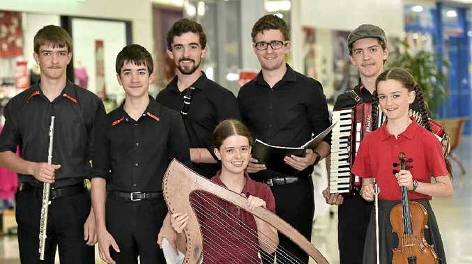 MUSICAL FAMILY: The Webb family of musicians busk together and donate the money earned to charity. Thy are (back, from left) Isaac, 15, James, 13, Nathan, 18, Liam, 20, and Peter Webb, 16, with (front) Nancy, 19 and Rebecca Webb, 12.