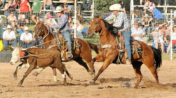 SUCCESS: Jeff Miller (right), pictured in combination with Joel Lillyman, is in a purple patch of form in team roping. INSET: Shellie, Jeff and Kobe Miller are all aiming for the APRA championship finals.