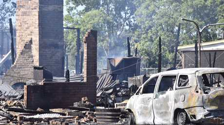 The charred remains on the Tattersalls Club Hotel in Pittsworth.