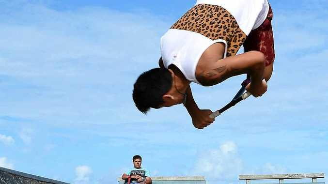 GETTING SOME AIR: Nga-Moke Takiari pulls off a flip at the skate park at Alexandra Headland.